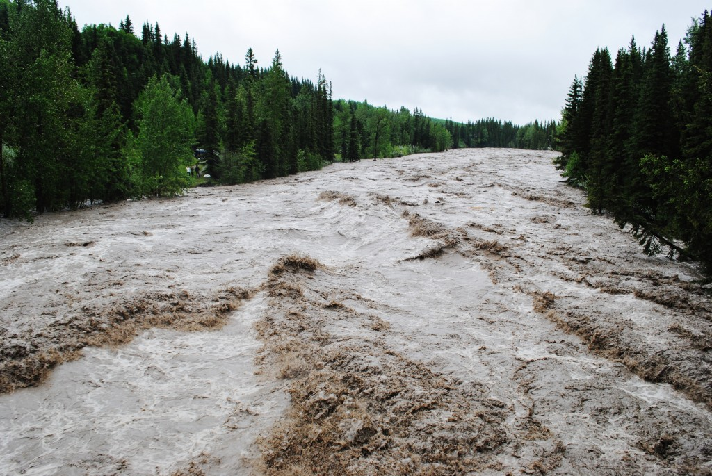 The Elbow River during the 2013 floods viewed from Bragg Creek's Balsam Avenue bridge. (County News archive).
