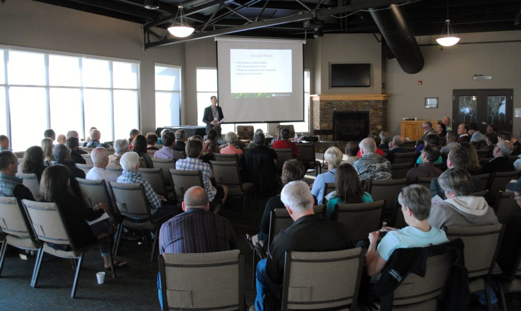 About 80 residents attended an open house on future gravel extraction policy in Rocky View County. Photo: Enrique Massot