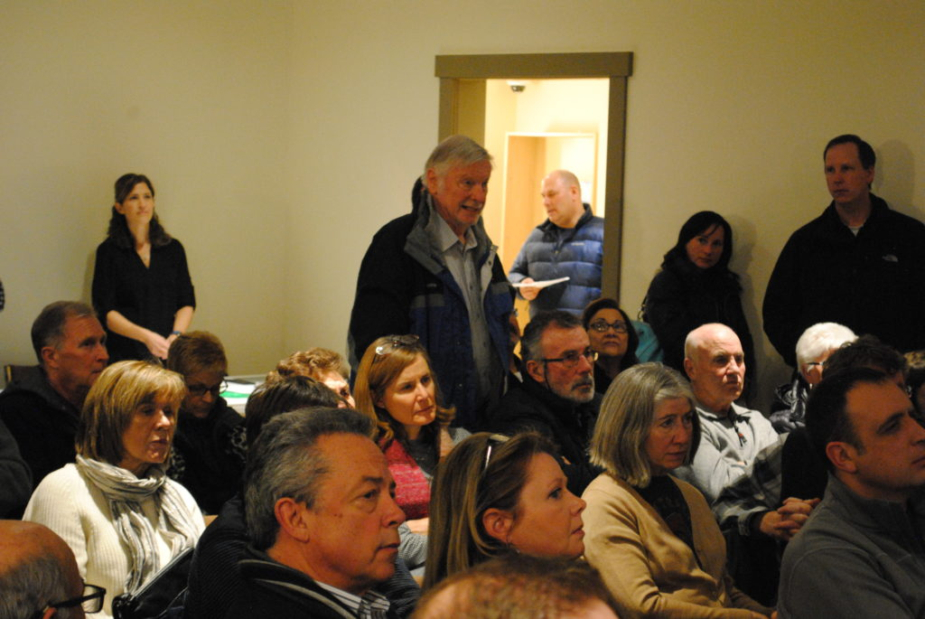 A veteran of gravel fights in Bearspaw, Mike Edwards speaks at the Jan. 11 residents' meeting. Photo: Enrique Massot